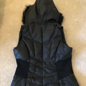 Guess Puffer Vest Jacket with Faux Fur Hood